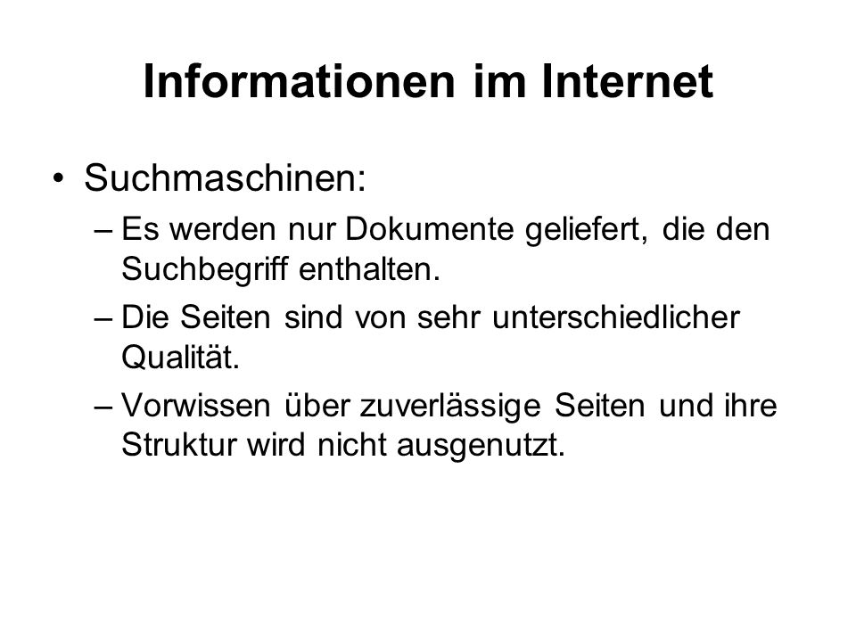 Informationen im Internet