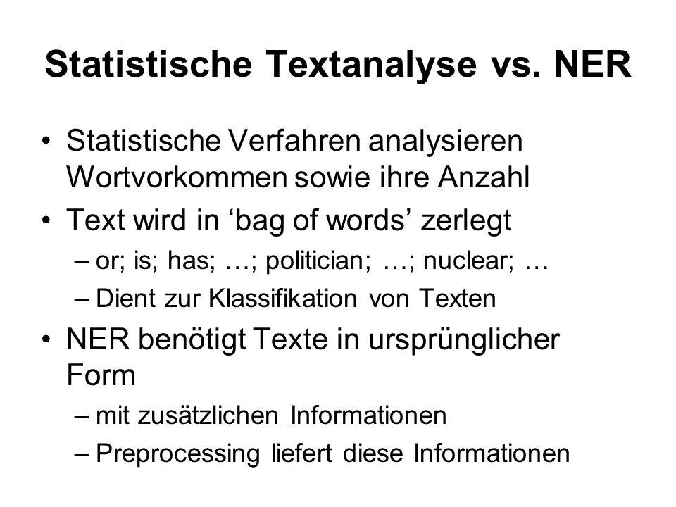 Statistische Textanalyse vs. NER