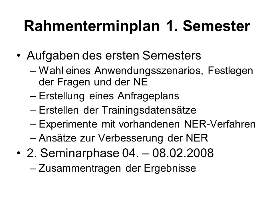 Rahmenterminplan 1. Semester