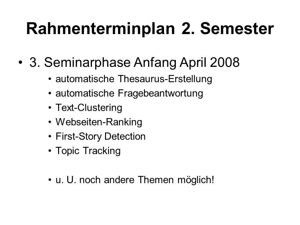 Rahmenterminplan 2. Semester