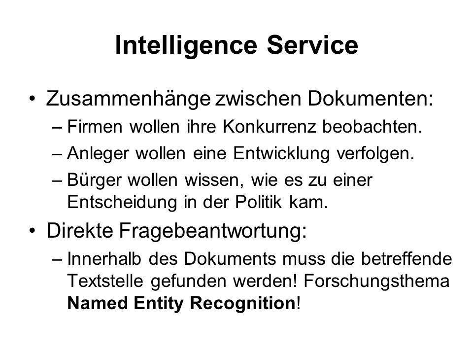 Intelligence Service Zusammenhänge zwischen Dokumenten: