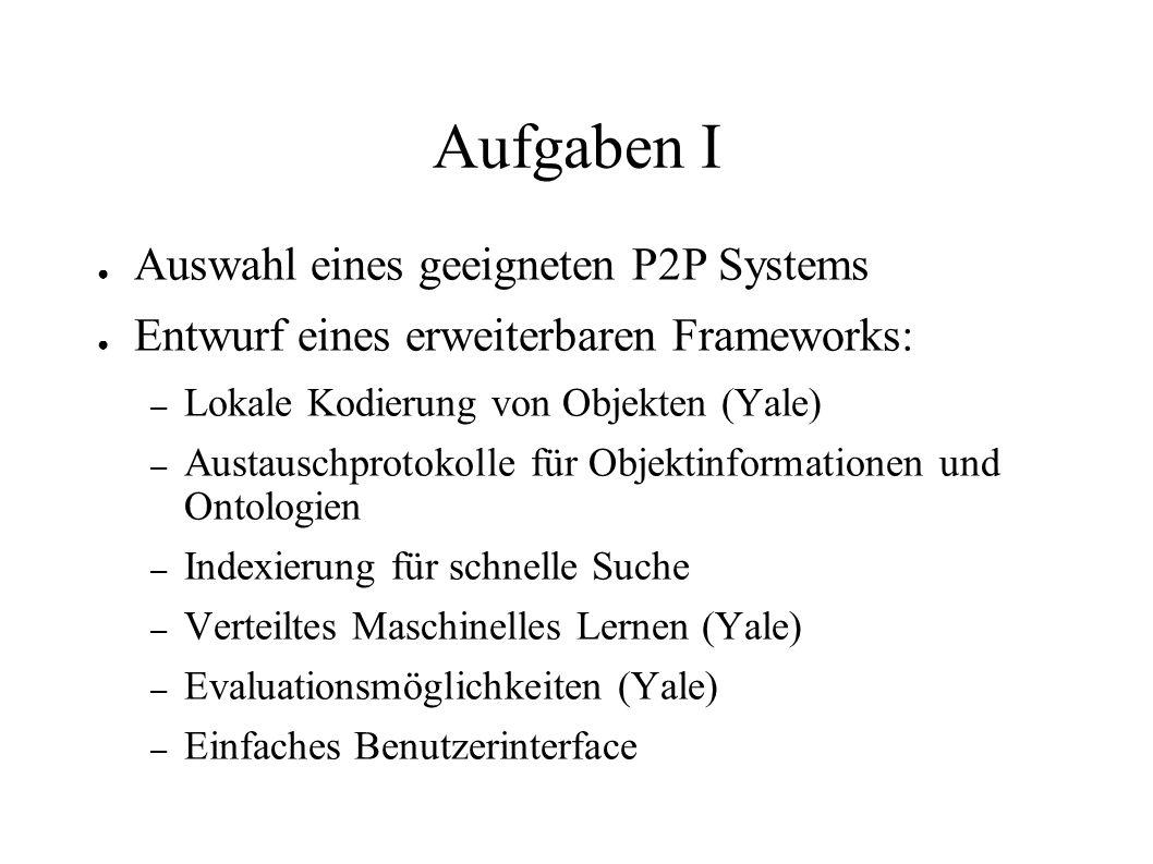 Aufgaben I Auswahl eines geeigneten P2P Systems