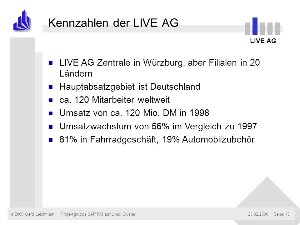 Kennzahlen der LIVE AG LIVE AG. LIVE AG Zentrale in Würzburg, aber Filialen in 20 Ländern. Hauptabsatzgebiet ist Deutschland.