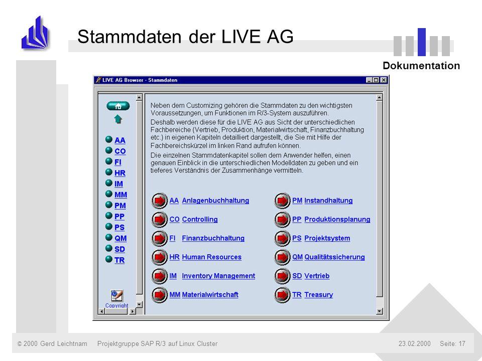 Stammdaten der LIVE AG Dokumentation