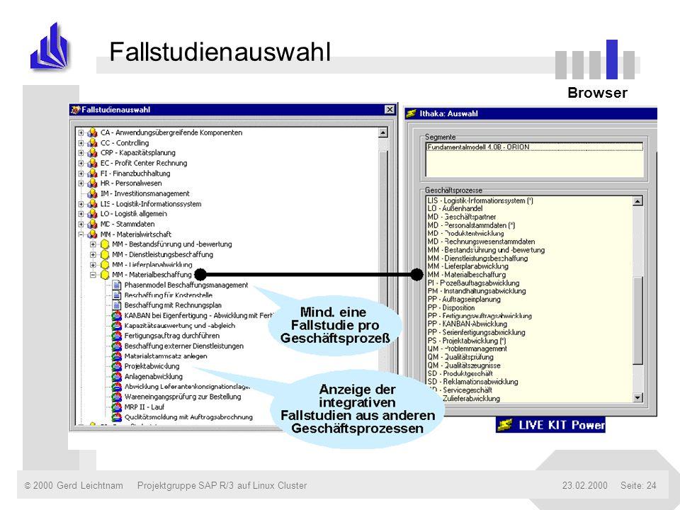 Fallstudienauswahl Verbinden zu einzelnen daemons Browser