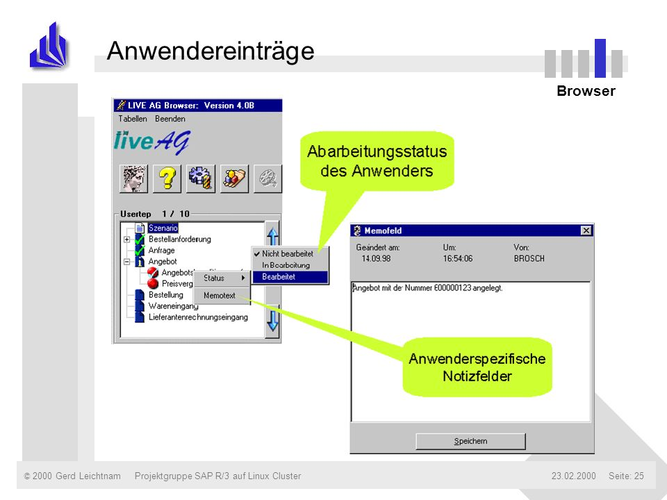 Anwendereinträge Verbinden zu einzelnen daemons Browser