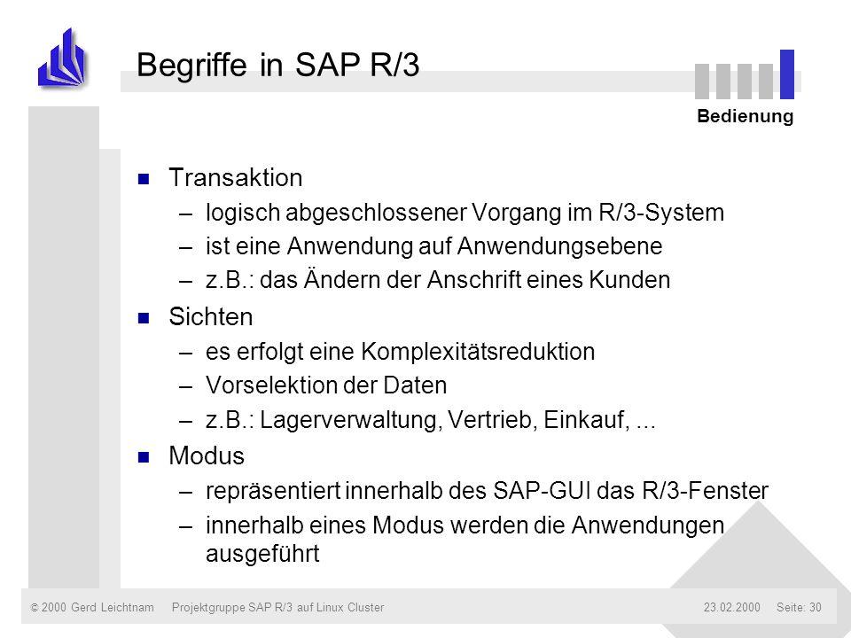 Begriffe in SAP R/3 Transaktion Sichten Modus