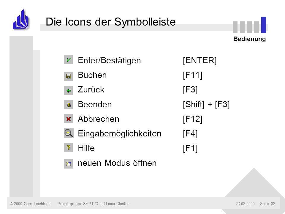 Die Icons der Symbolleiste