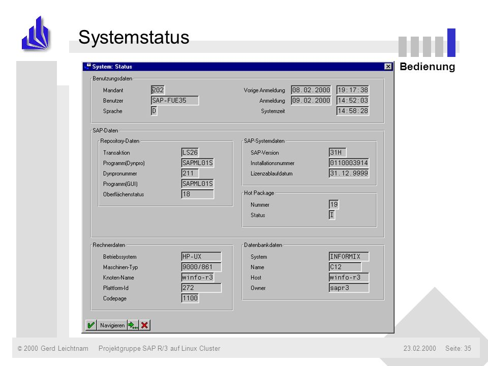 Systemstatus Bedienung Projektgruppe SAP R/3 auf Linux Cluster