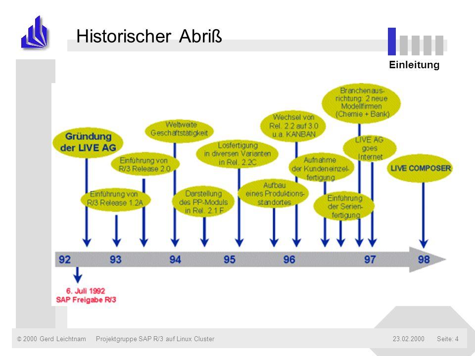 Historischer Abriß Einleitung Projektgruppe SAP R/3 auf Linux Cluster