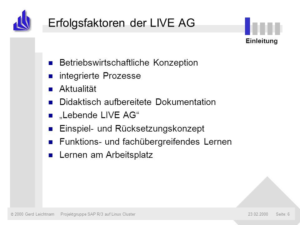 Erfolgsfaktoren der LIVE AG