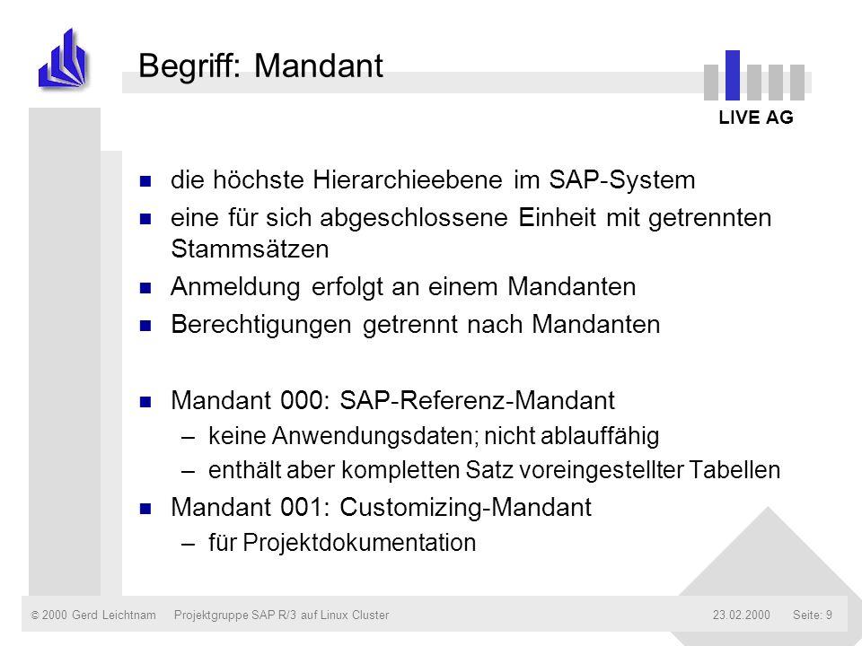 Begriff: Mandant die höchste Hierarchieebene im SAP-System