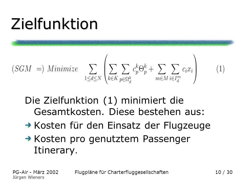 Zielfunktion Die Zielfunktion (1) minimiert die Gesamtkosten. Diese bestehen aus: Kosten für den Einsatz der Flugzeuge.