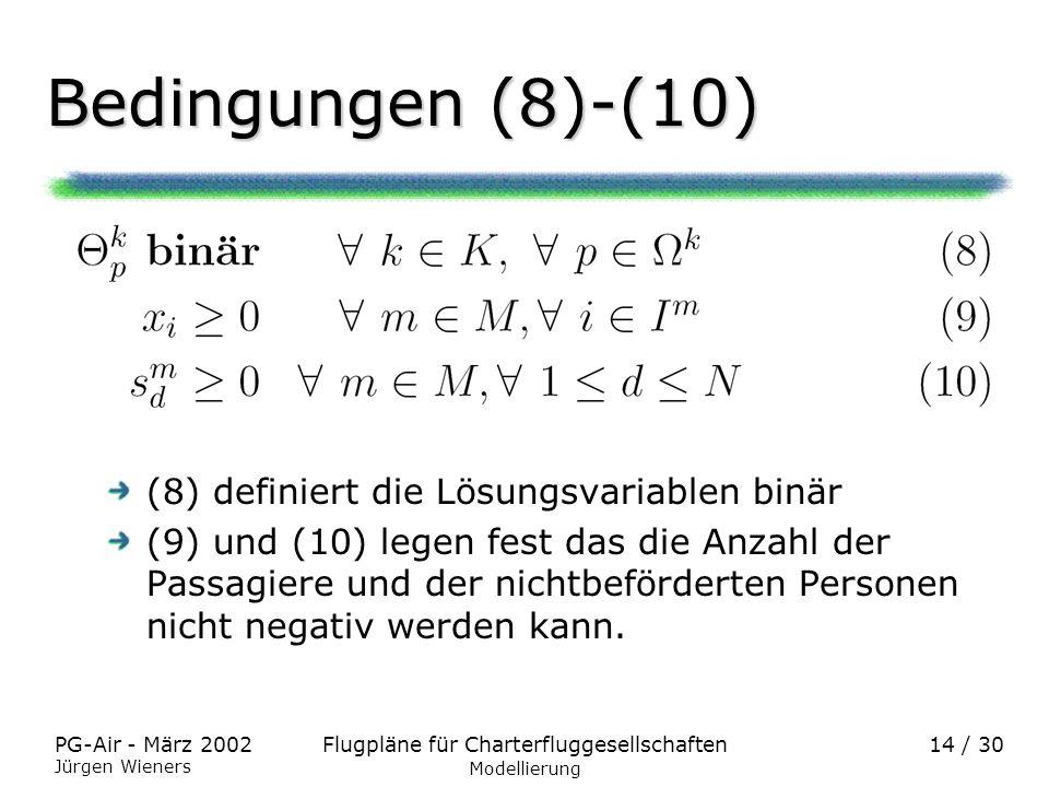 Bedingungen (8)-(10) (8) definiert die Lösungsvariablen binär