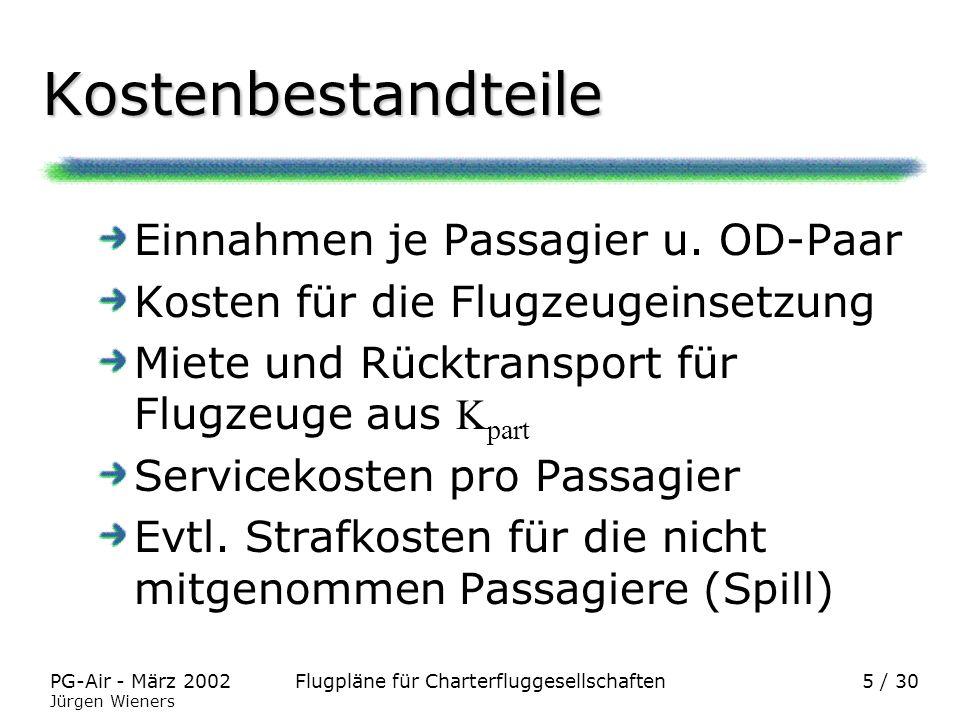 Kostenbestandteile Einnahmen je Passagier u. OD-Paar
