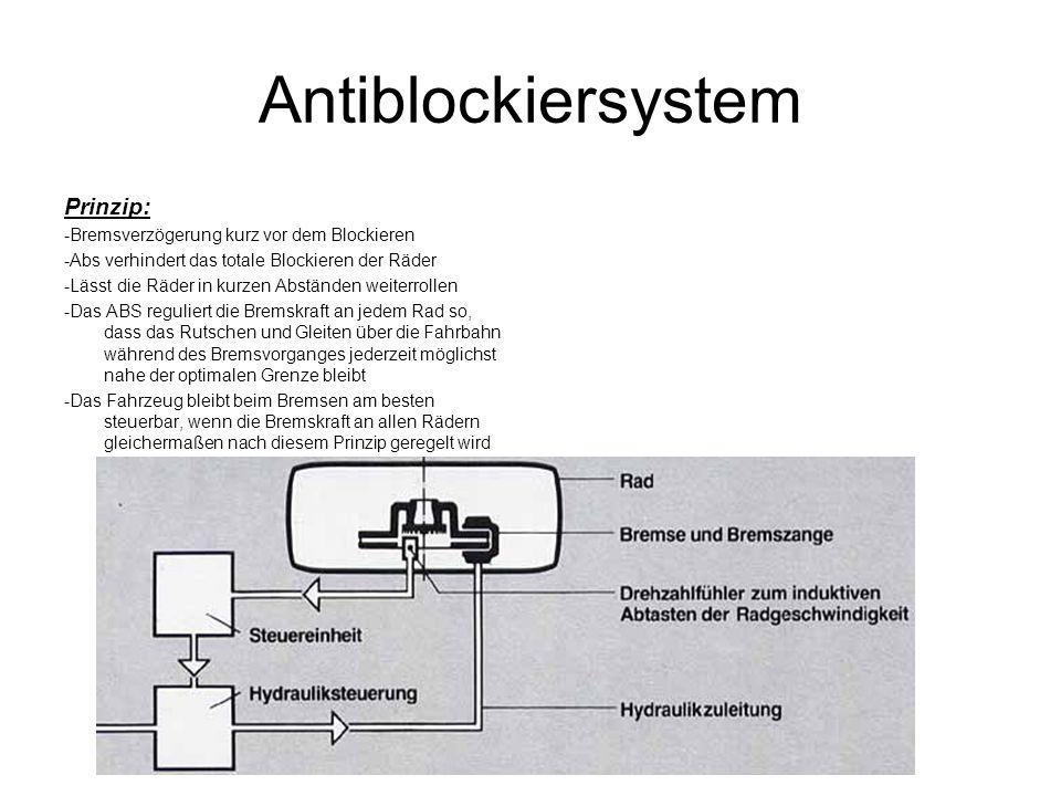Antiblockiersystem Prinzip: -Bremsverzögerung kurz vor dem Blockieren