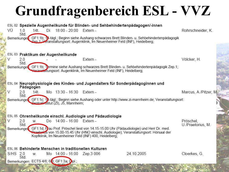 Grundfragenbereich ESL - VVZ