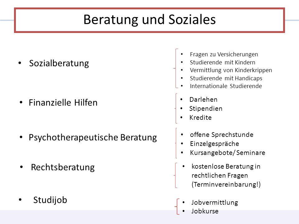 Beratung und Soziales Sozialberatung Finanzielle Hilfen
