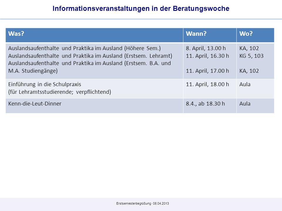 Informationsveranstaltungen in der Beratungswoche