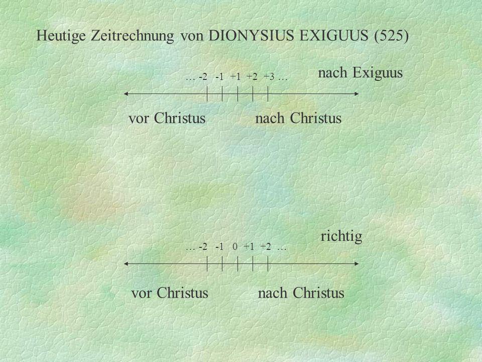 Heutige Zeitrechnung von DIONYSIUS EXIGUUS (525)