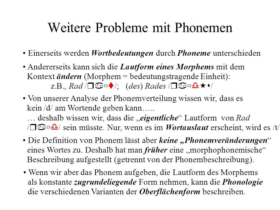Weitere Probleme mit Phonemen