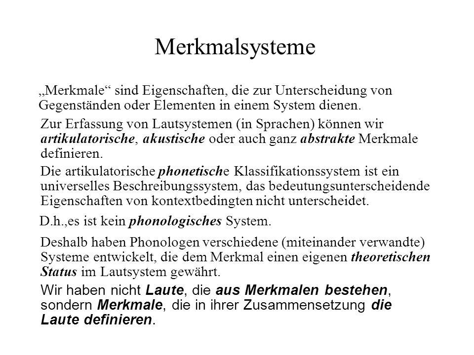 """Merkmalsysteme """"Merkmale sind Eigenschaften, die zur Unterscheidung von Gegenständen oder Elementen in einem System dienen."""