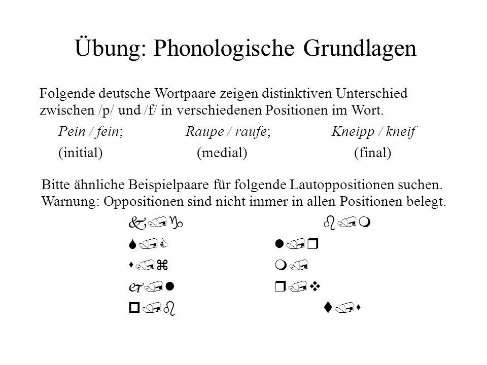 Übung: Phonologische Grundlagen