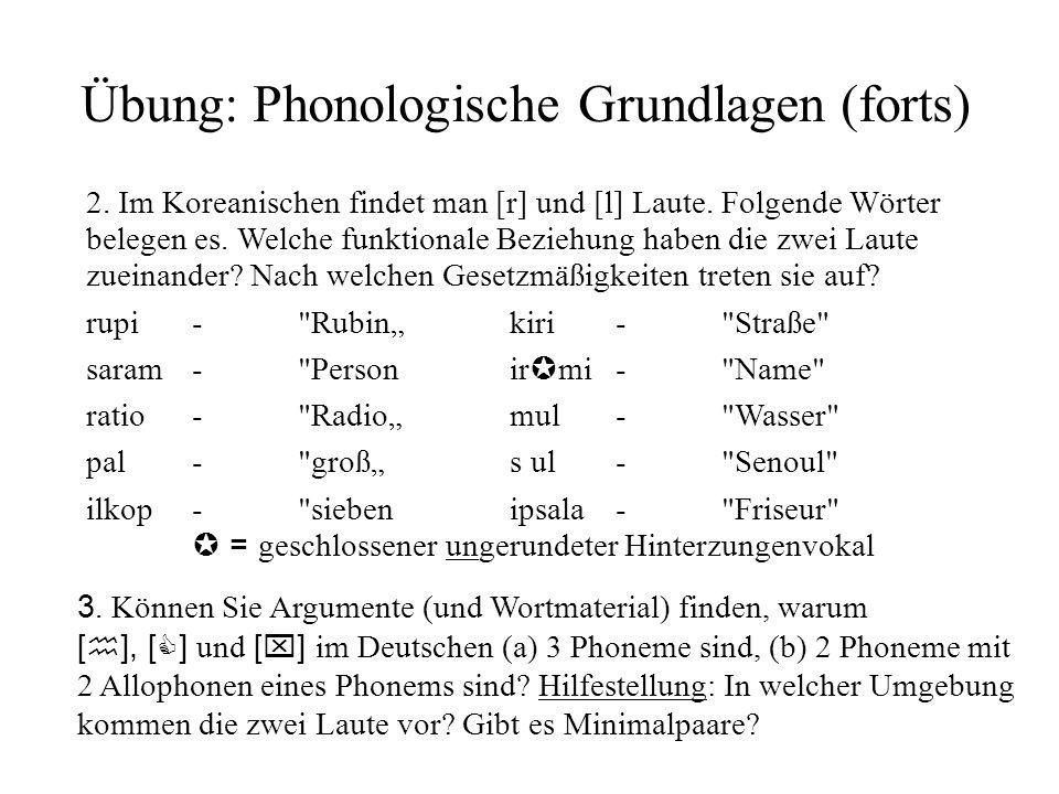 Übung: Phonologische Grundlagen (forts)