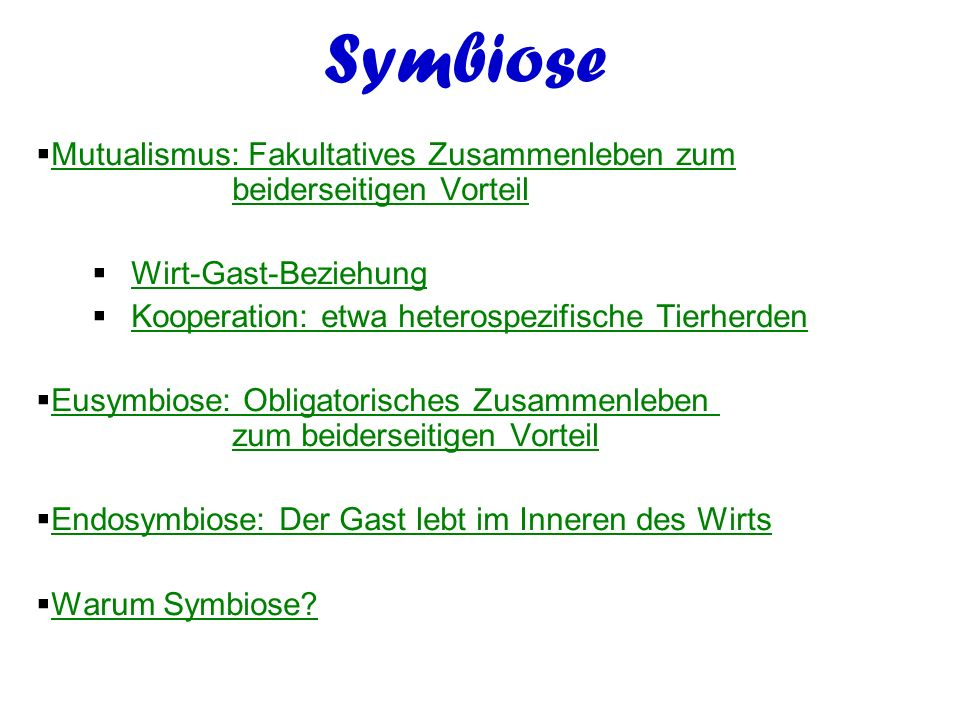 Symbiose Mutualismus: Fakultatives Zusammenleben zum beiderseitigen Vorteil. Wirt-Gast-Beziehung.