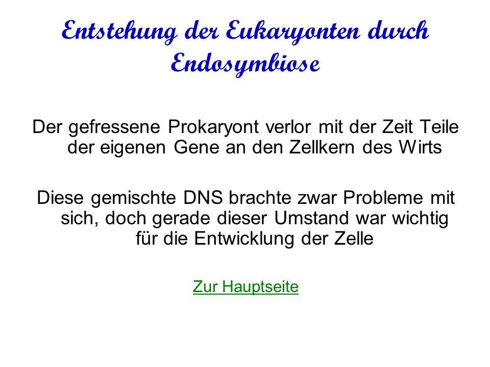 Entstehung der Eukaryonten durch Endosymbiose
