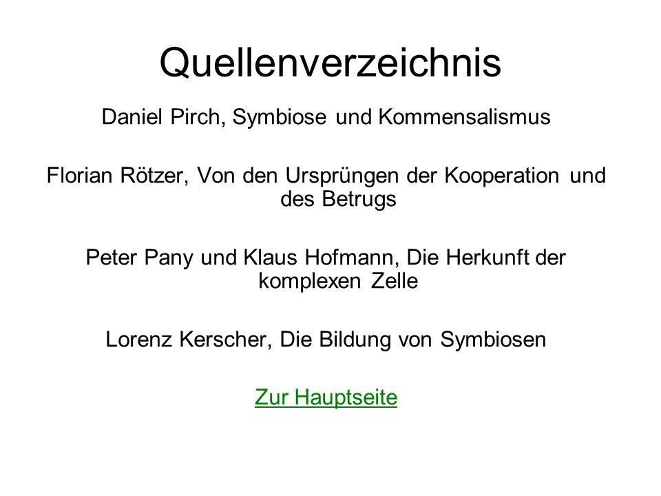 Quellenverzeichnis Daniel Pirch, Symbiose und Kommensalismus