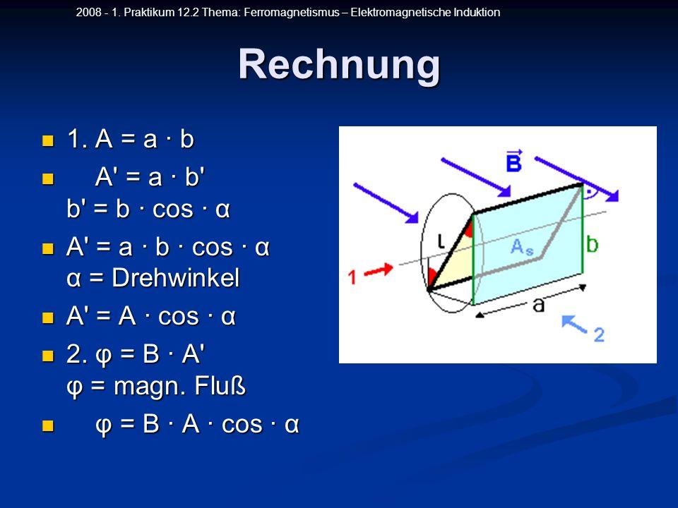 Rechnung 1. A = a ∙ b A = a ∙ b b = b ∙ cos ∙ α