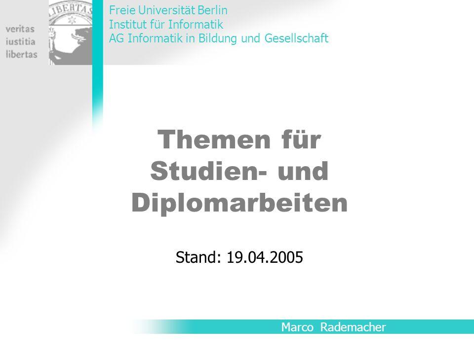 Themen für Studien- und Diplomarbeiten