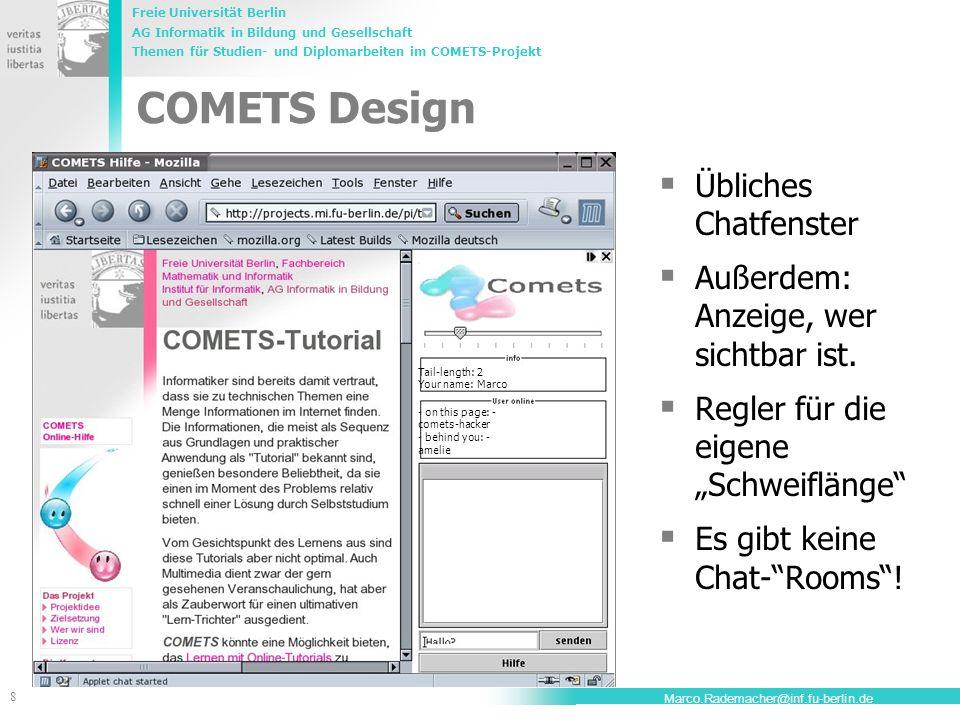 COMETS Design Übliches Chatfenster