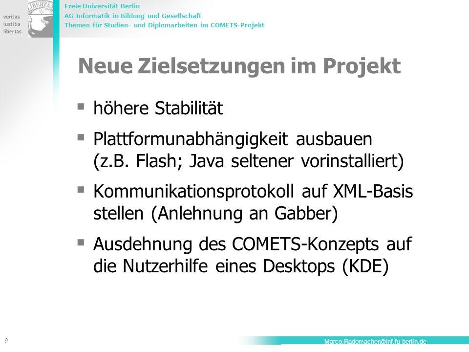 Neue Zielsetzungen im Projekt