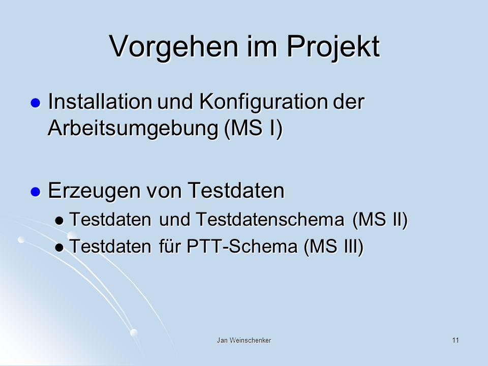 Vorgehen im Projekt Installation und Konfiguration der Arbeitsumgebung (MS I) Erzeugen von Testdaten.