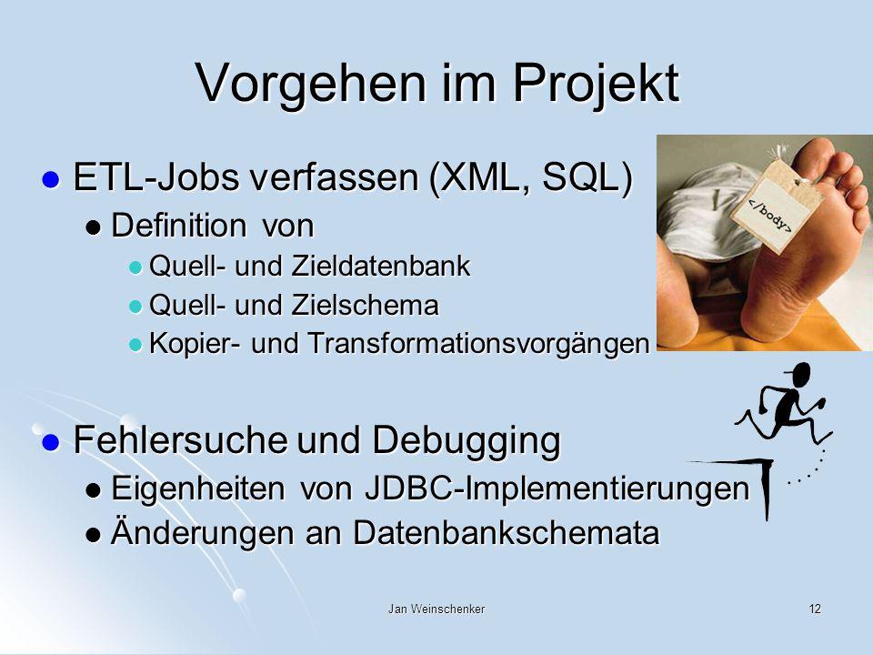 Vorgehen im Projekt ETL-Jobs verfassen (XML, SQL)
