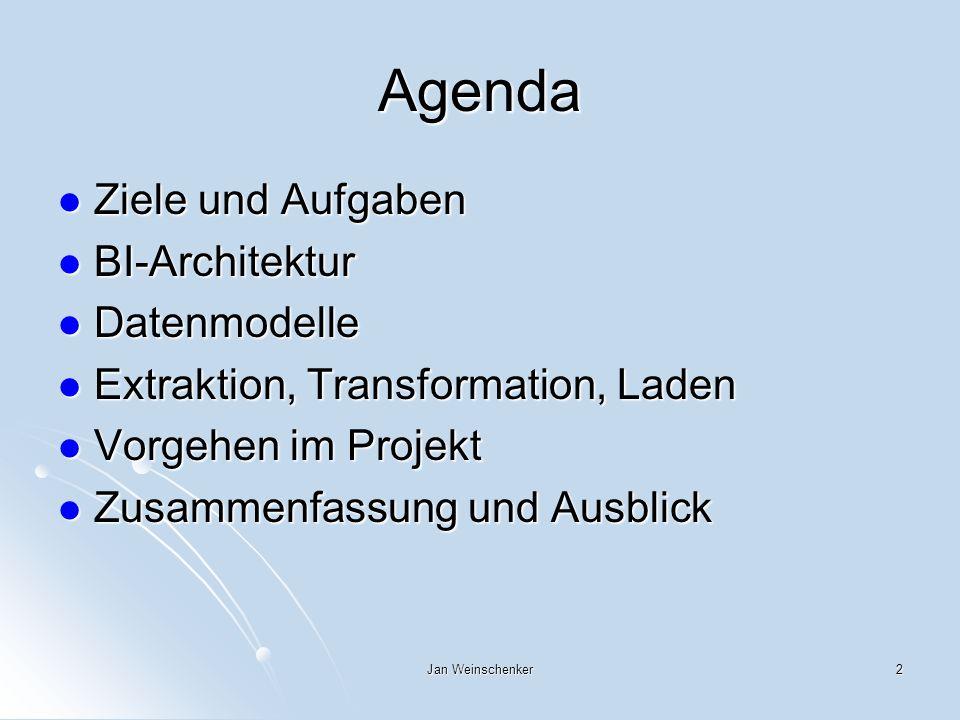 Agenda Ziele und Aufgaben BI-Architektur Datenmodelle