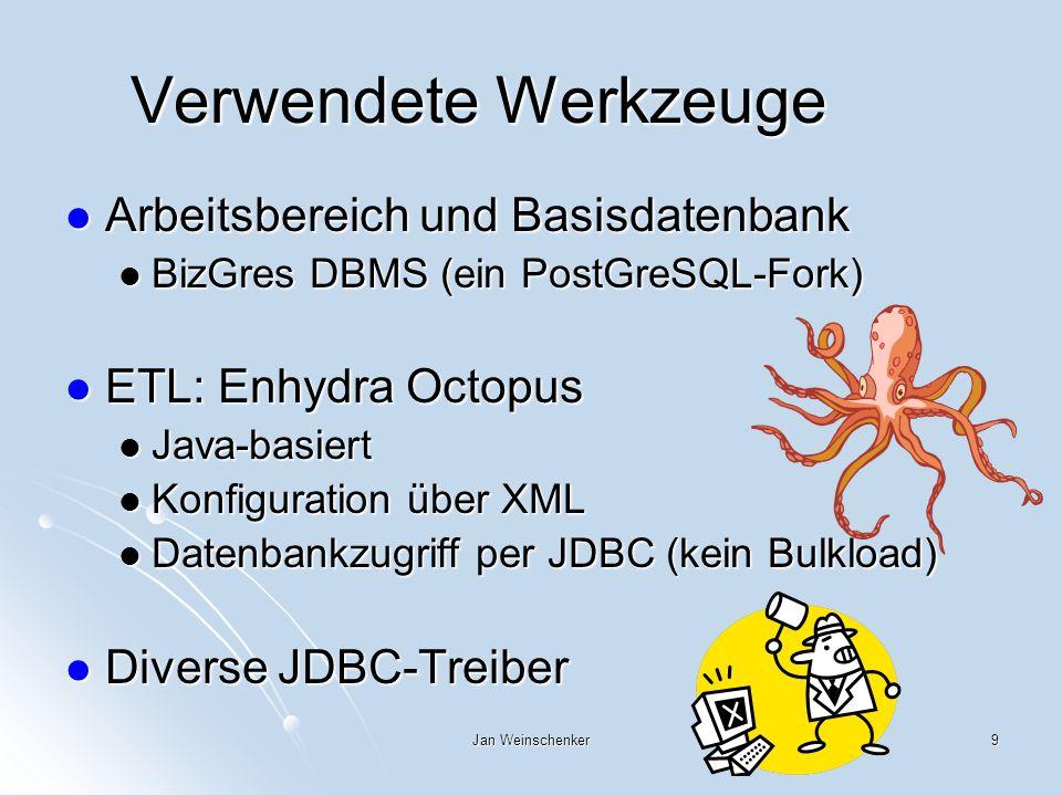 Verwendete Werkzeuge Arbeitsbereich und Basisdatenbank