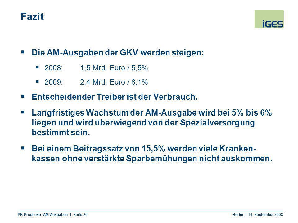 Fazit Die AM-Ausgaben der GKV werden steigen: