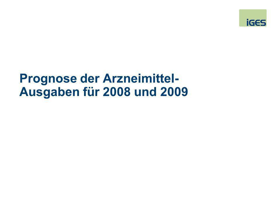 Prognose der Arzneimittel-Ausgaben für 2008 und 2009