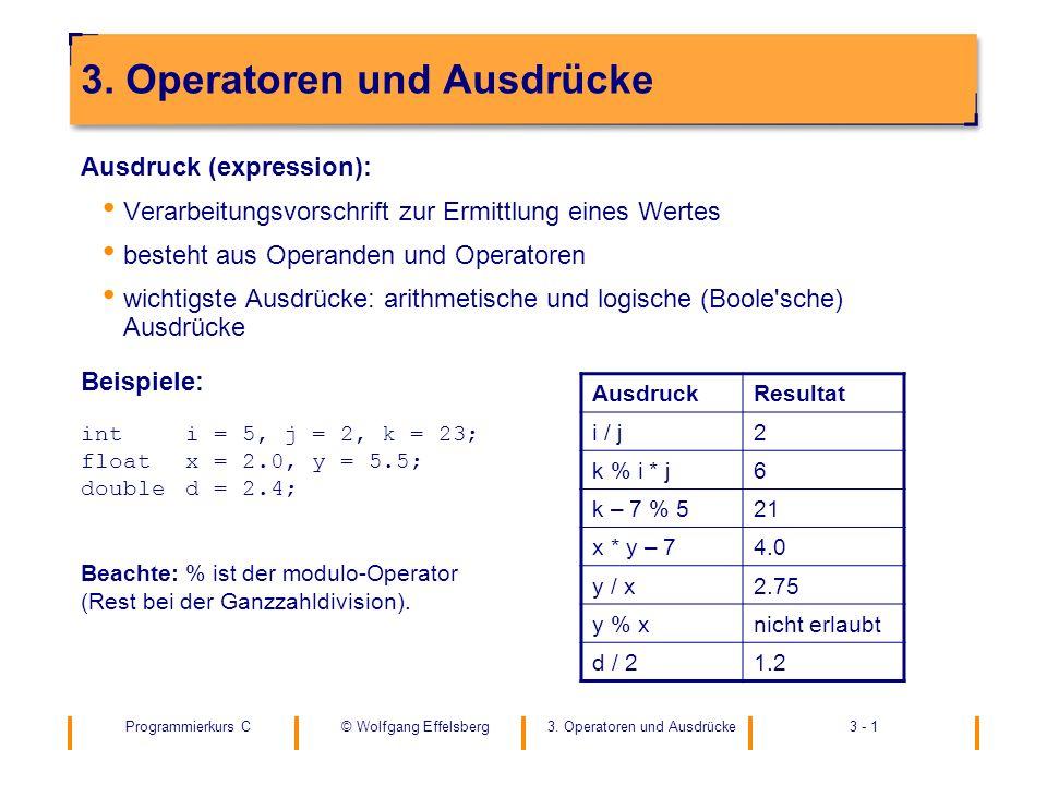 3. Operatoren und Ausdrücke