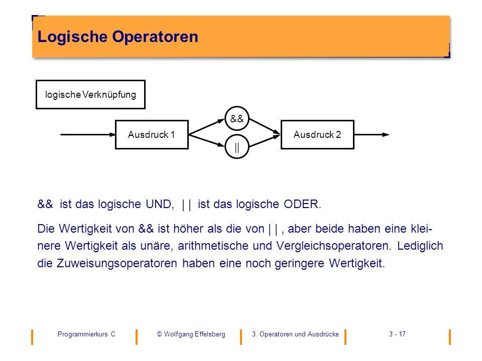 Logische Operatoren || && logische Verknüpfung. Ausdruck 1. Ausdruck 2. && ist das logische UND, | | ist das logische ODER.