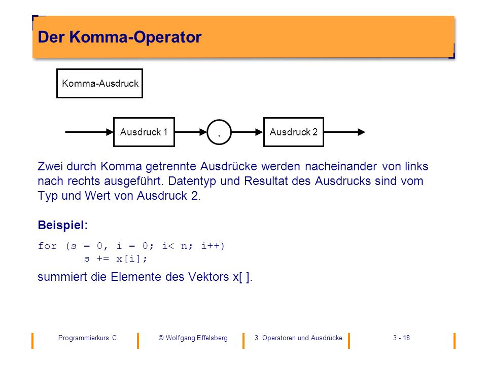 Der Komma-Operator Komma-Ausdruck. Ausdruck 1. Ausdruck 2. ,