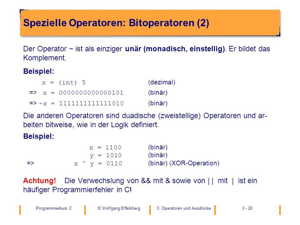 Spezielle Operatoren: Bitoperatoren (2)