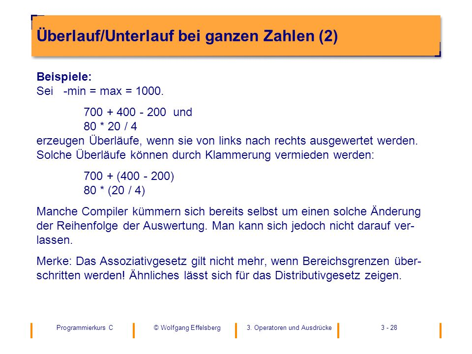 Überlauf/Unterlauf bei ganzen Zahlen (2)