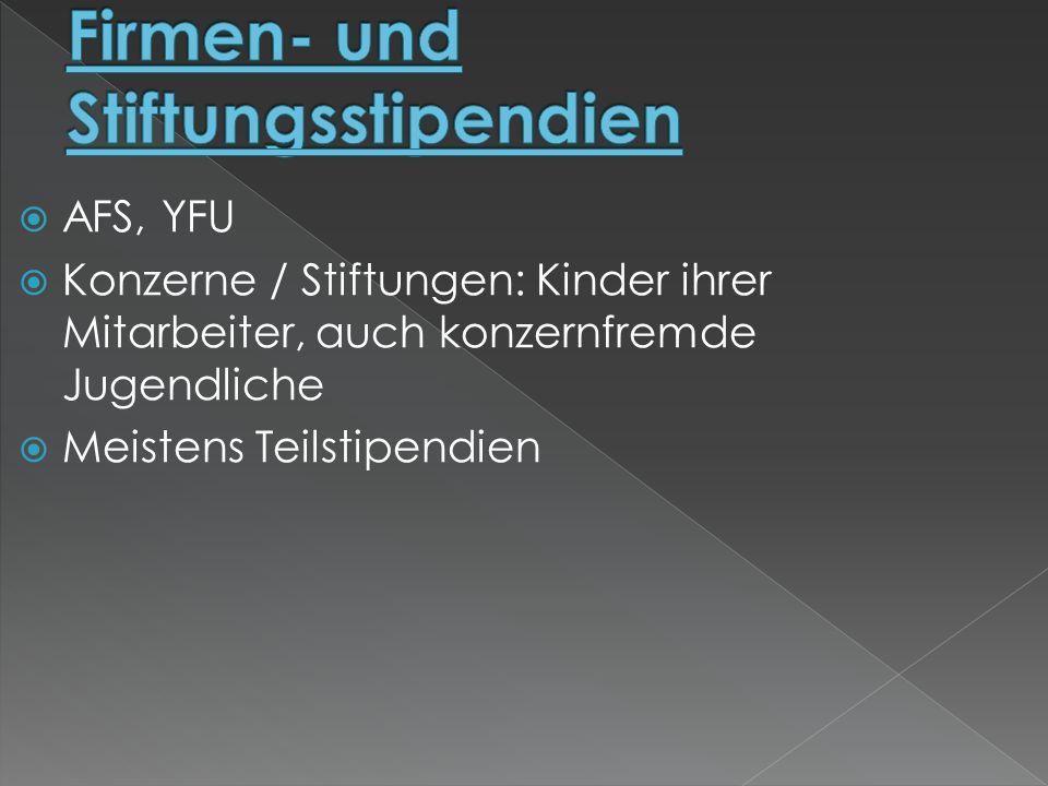 Firmen- und Stiftungsstipendien