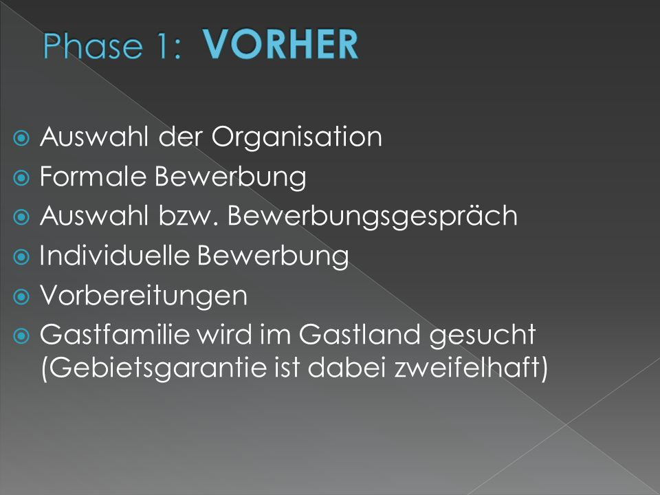 Phase 1: VORHER Auswahl der Organisation Formale Bewerbung