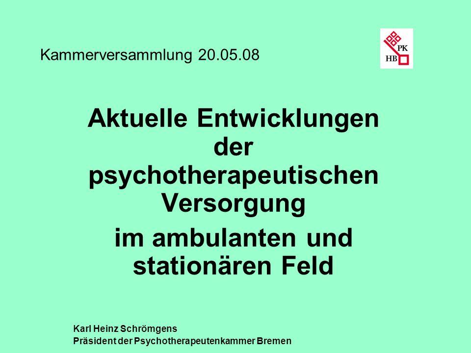 Aktuelle Entwicklungen der psychotherapeutischen Versorgung