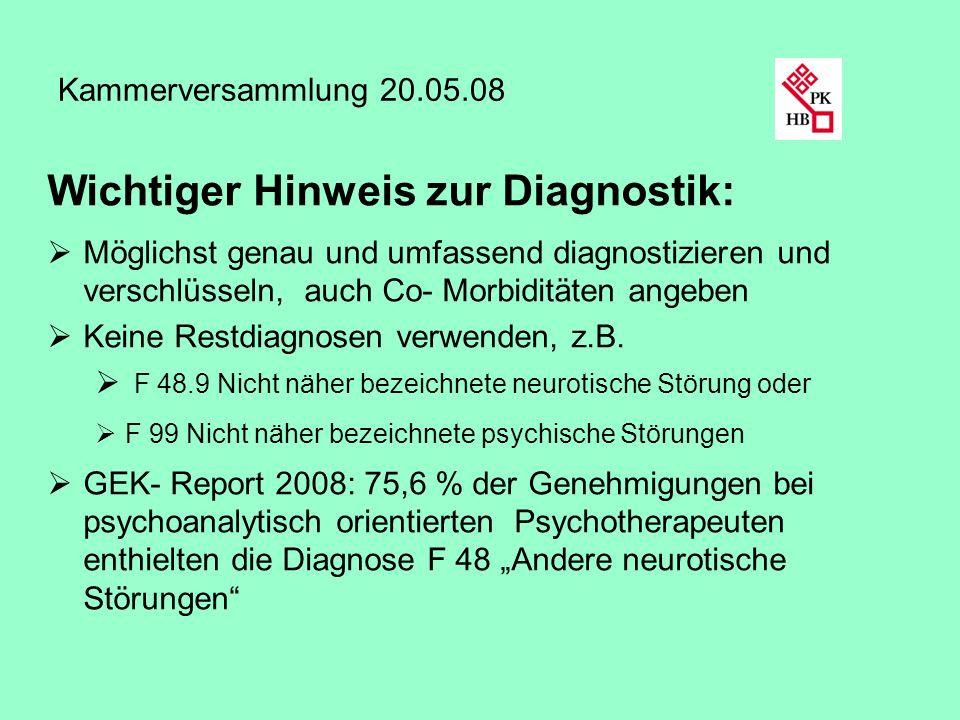 Wichtiger Hinweis zur Diagnostik: